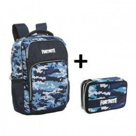 Zaino Fortnite Camouflage Blu + Astuccio 3 Zip