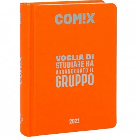 Comix - Diario 2021/2022 16 Mesi - Orange Fluo scritta Argento - Mignon