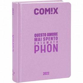 Comix - Diario 2021/2022 16 Mesi - Soft Pink scritta Metal Fucsia - Mignon