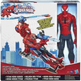 Spiderman Elicottero con Personaggio 30 Cm